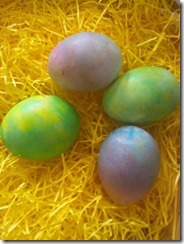 dyed eggs in basket